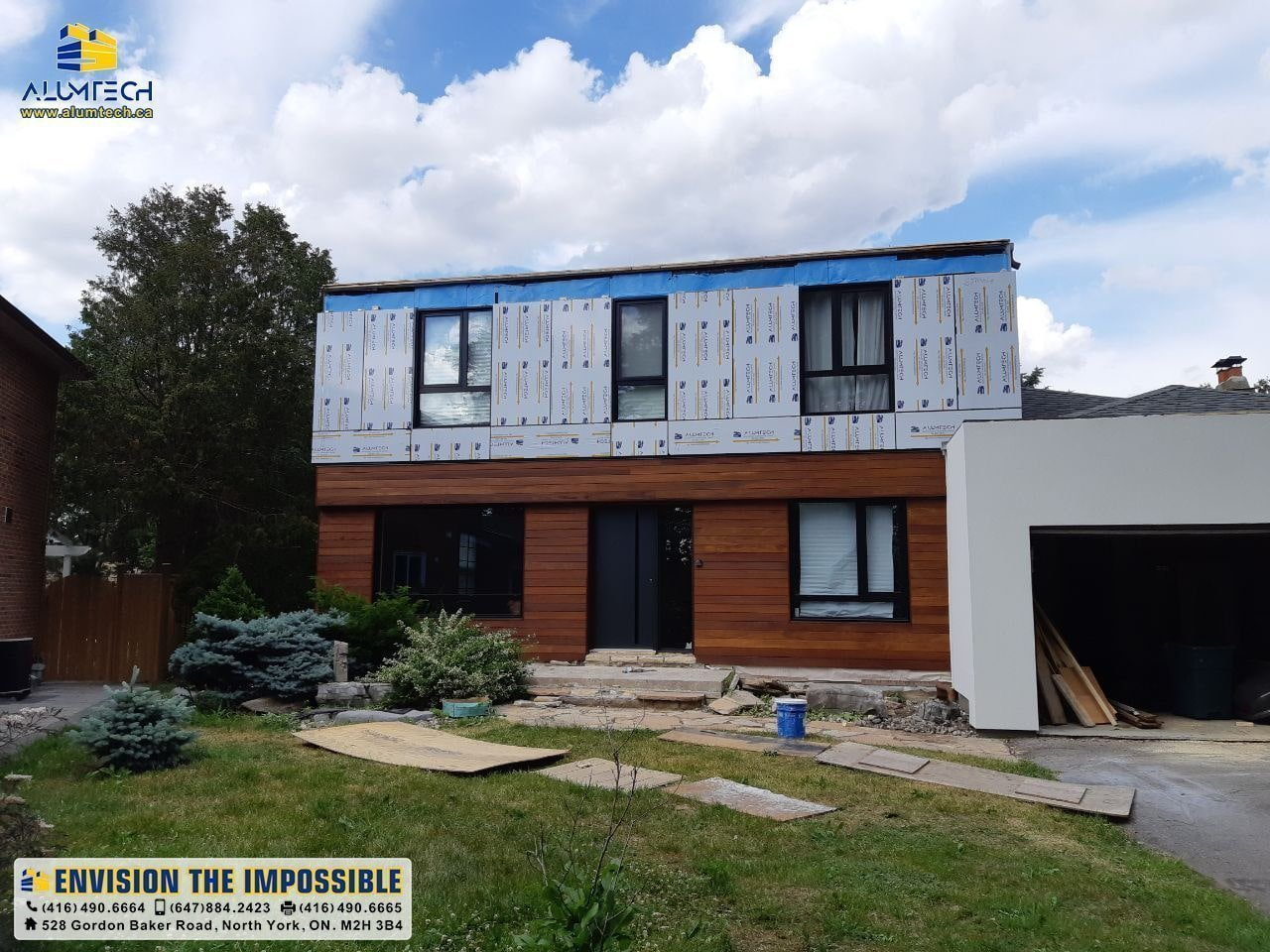 Combination of the black Aluminum composite panels with wood