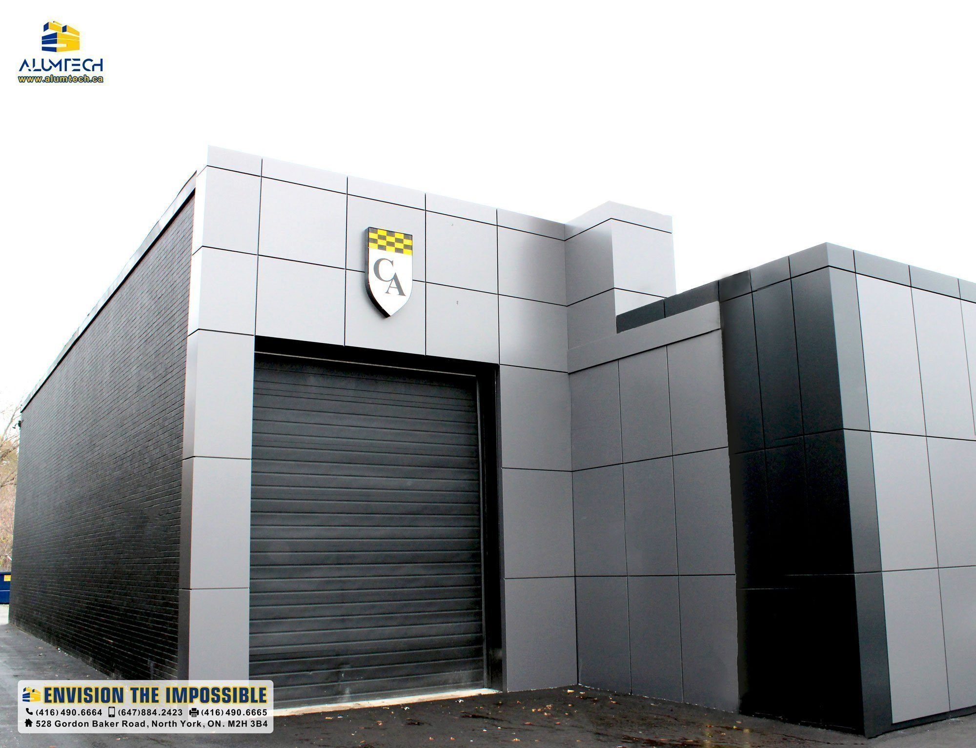 combination clad of metallic gray and black fire rated aluminum composite panel
