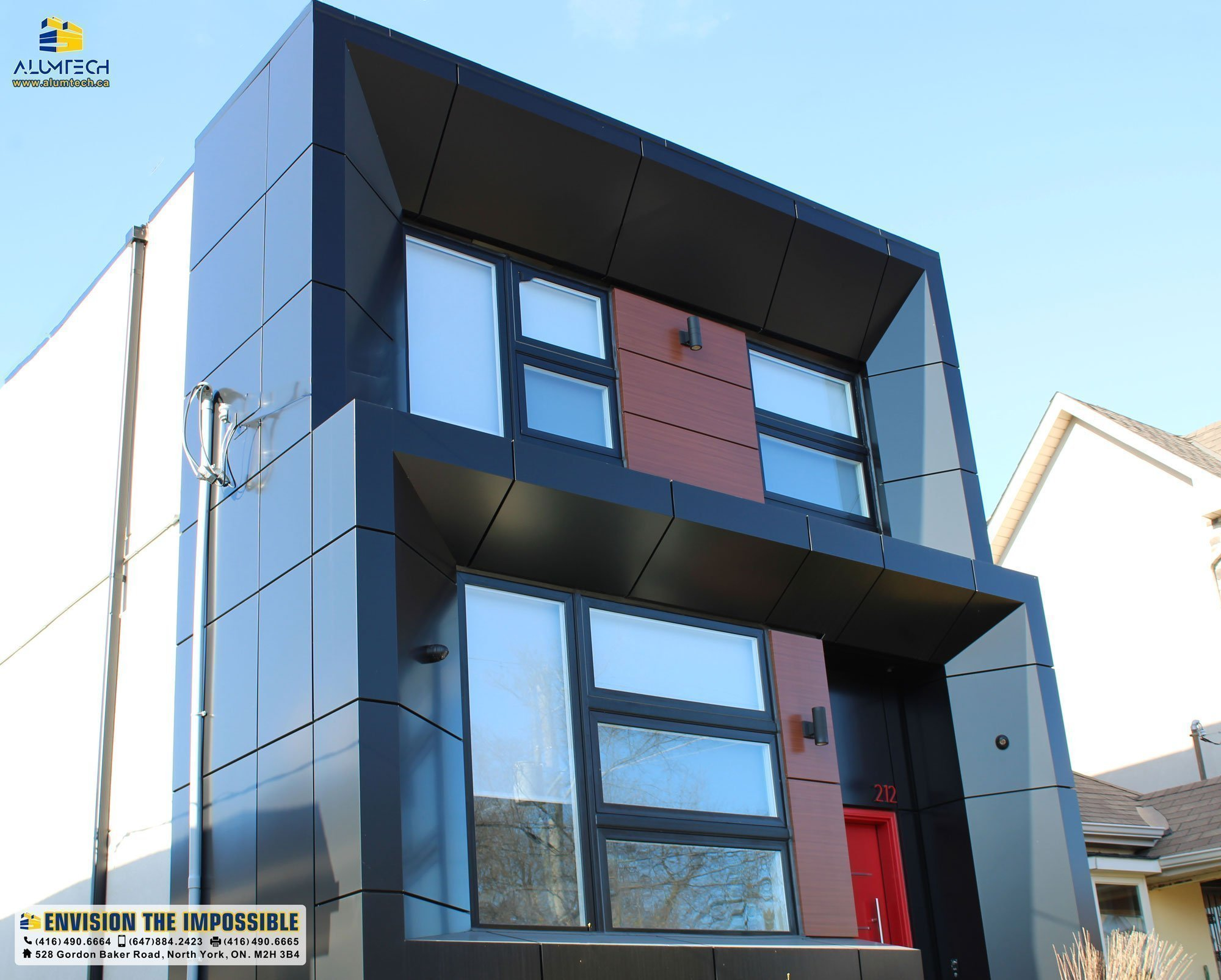 Modern-day usage of aluminum composite panel in a residential property