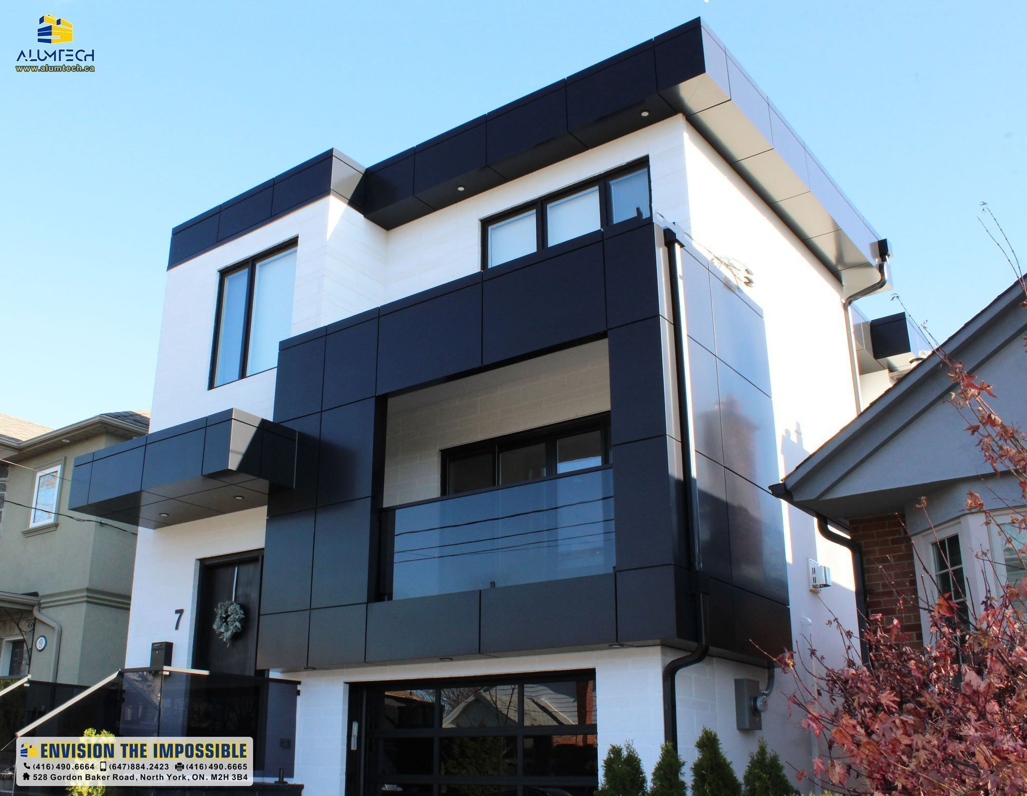 Black aluminum composite panel modern building facade